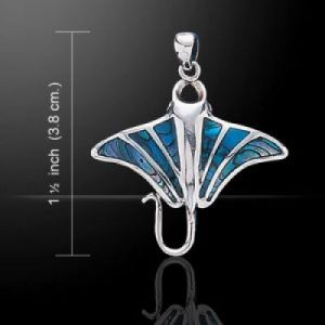 Zilveren Manta hanger met 6 paua inlay