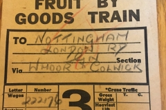 Goods label showing fruit being sent from Bluntinsham to Nottingham, 1924