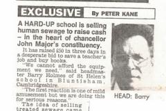 Hard-up school selling sewerage, 1989 (Elaine Gebbie)