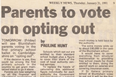 St Helen's School voting to opt out of LEA control, 1991 (Elaine Gebbie)
