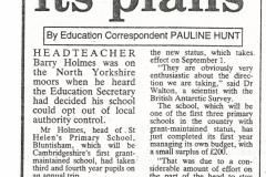 St Helen's School opt-out from LEA confirmed, 1991 (Elaine Gebbie)