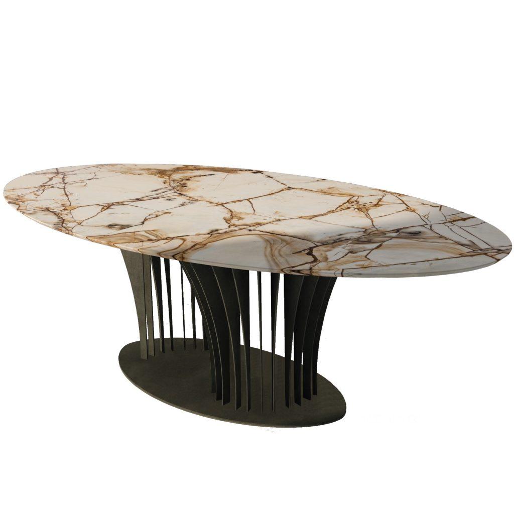 Table avec marbre 'Spiderman' et structure en fer patiné.