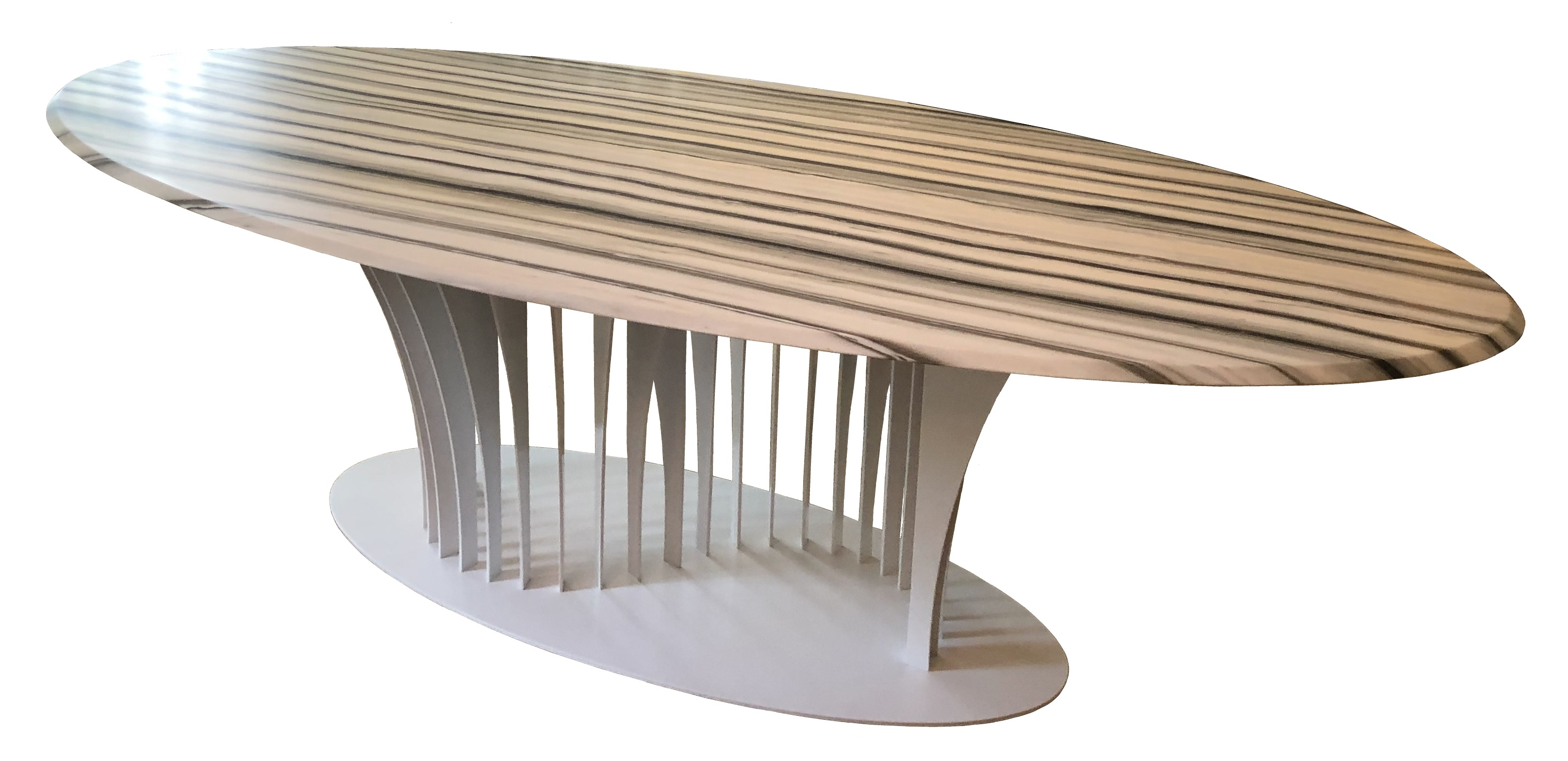 Table with Zebrino marble and white laquered structure.