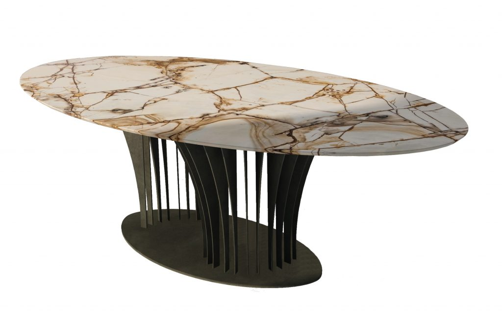 Table made of marble Spiderman  and a structure of patinated iron.