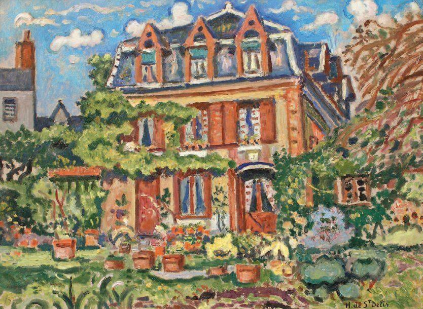 Hotel Saint Délis at Honfleur, painted by Henri de Saint Délis