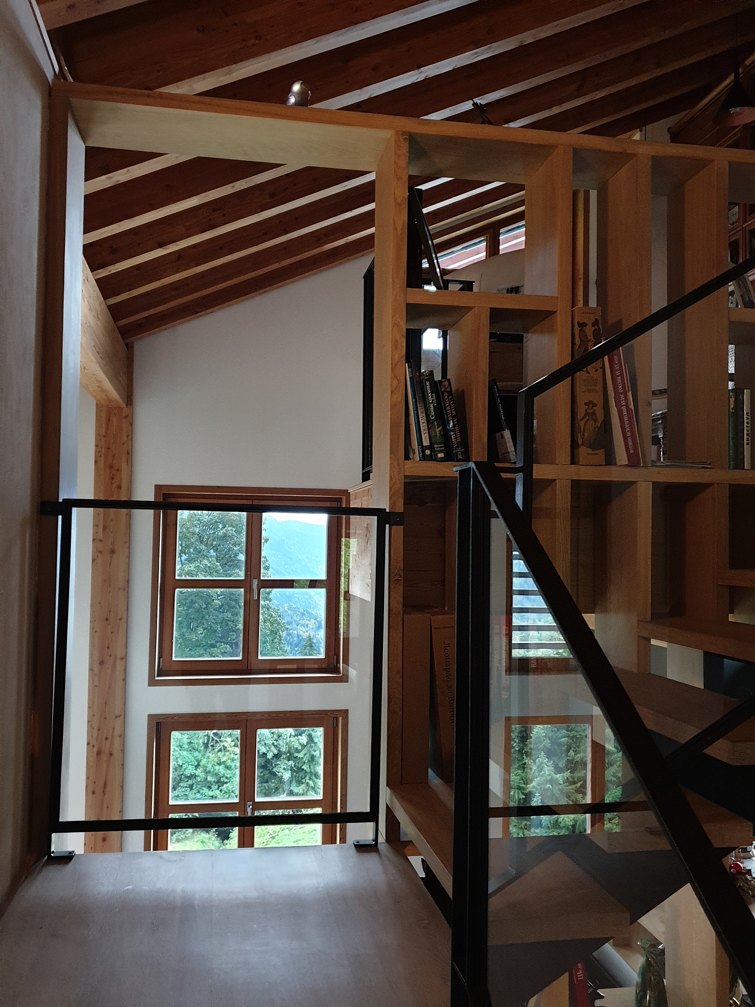 Projet Chalet Villars-sur-Ollon - Stairs and libraries