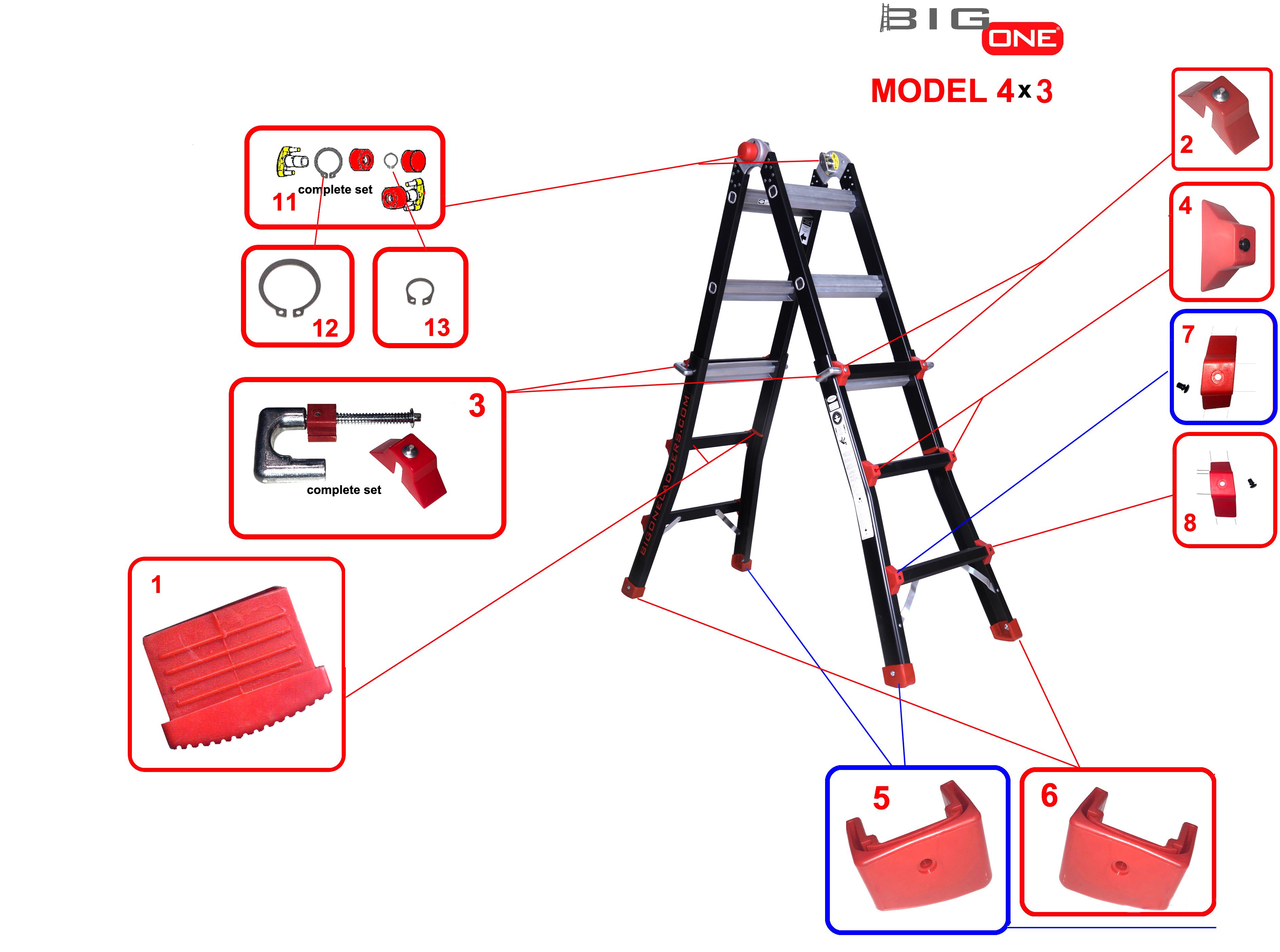 onderdelen 4x3 ladder