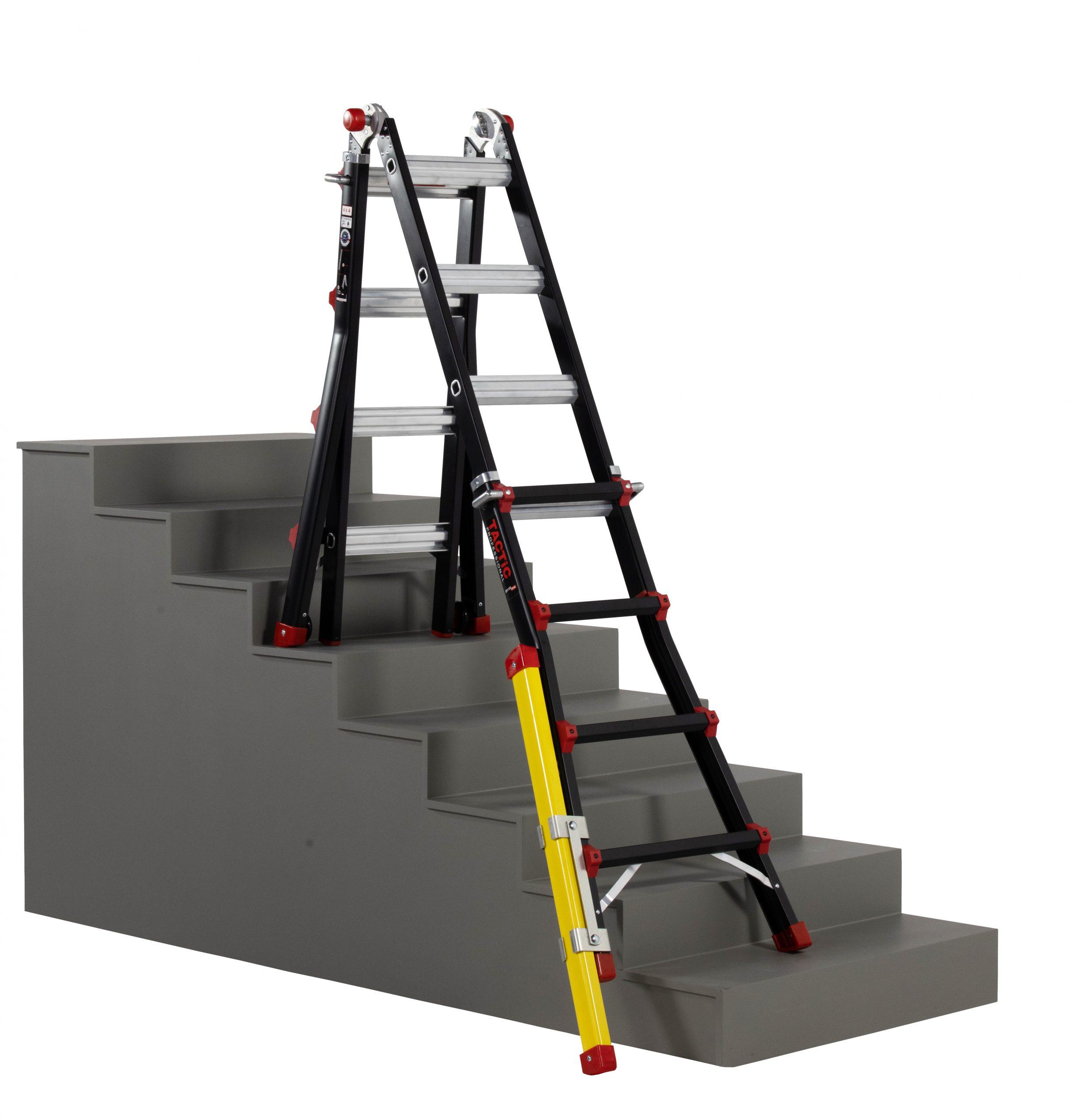 4x4 uitgeschoven met verlengpoot op trap