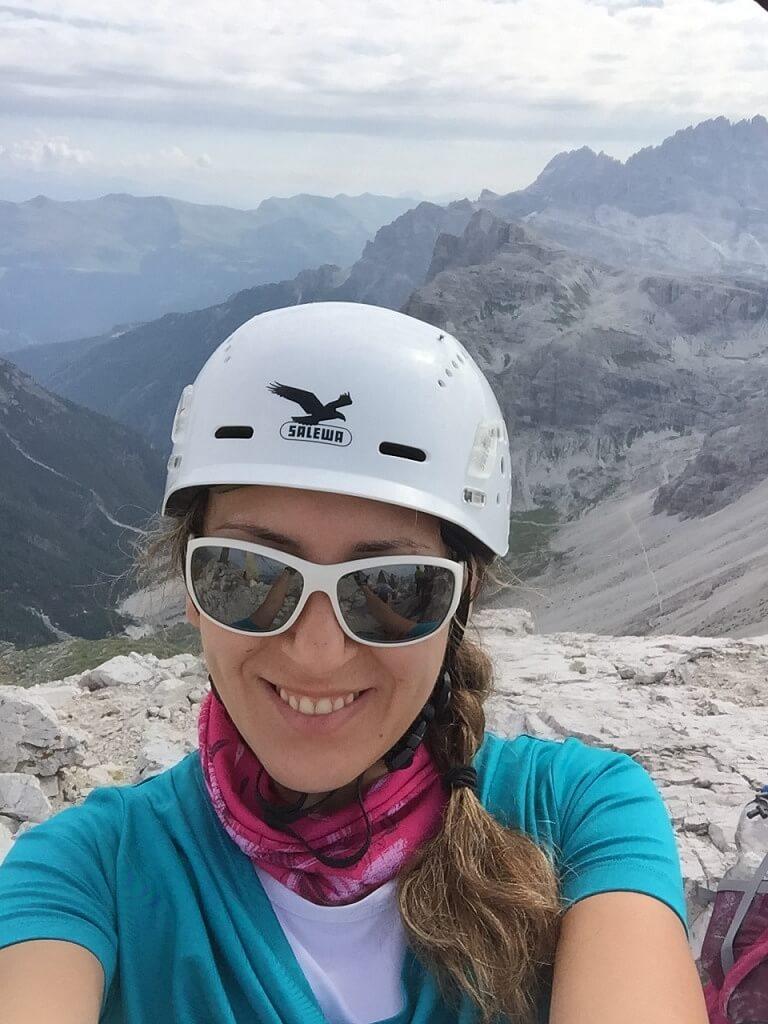 Climber in Dolomites Italy