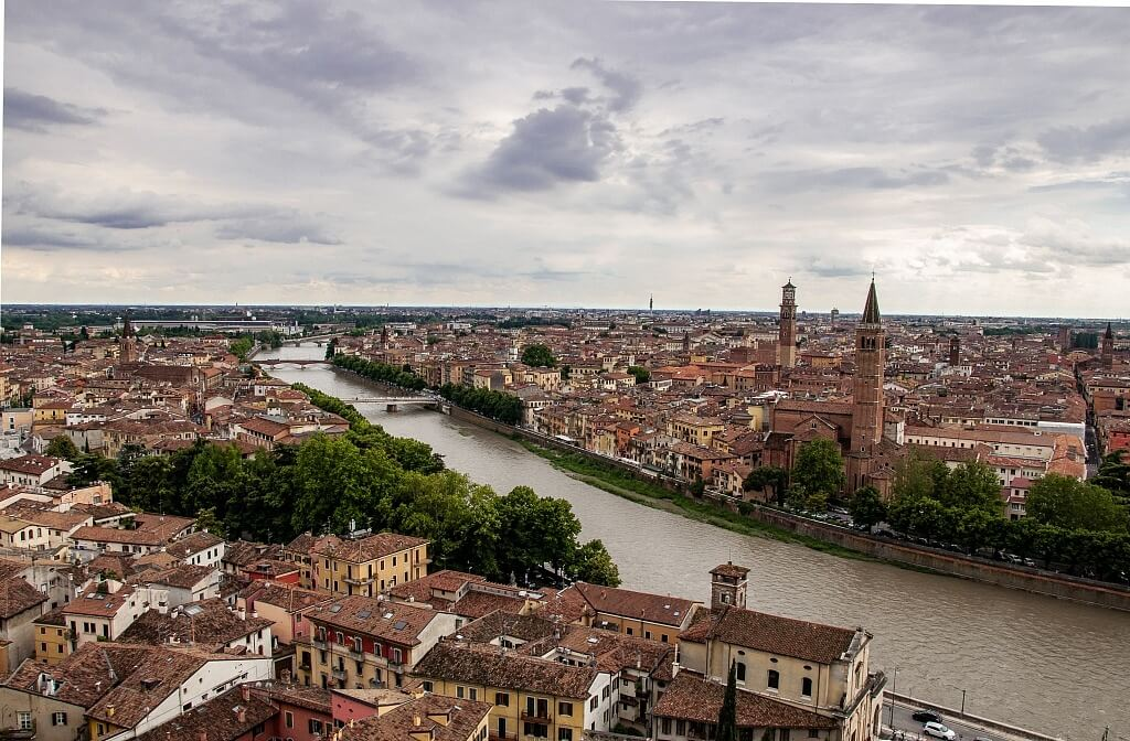 View of Verona from the hill of Castel San Pietro