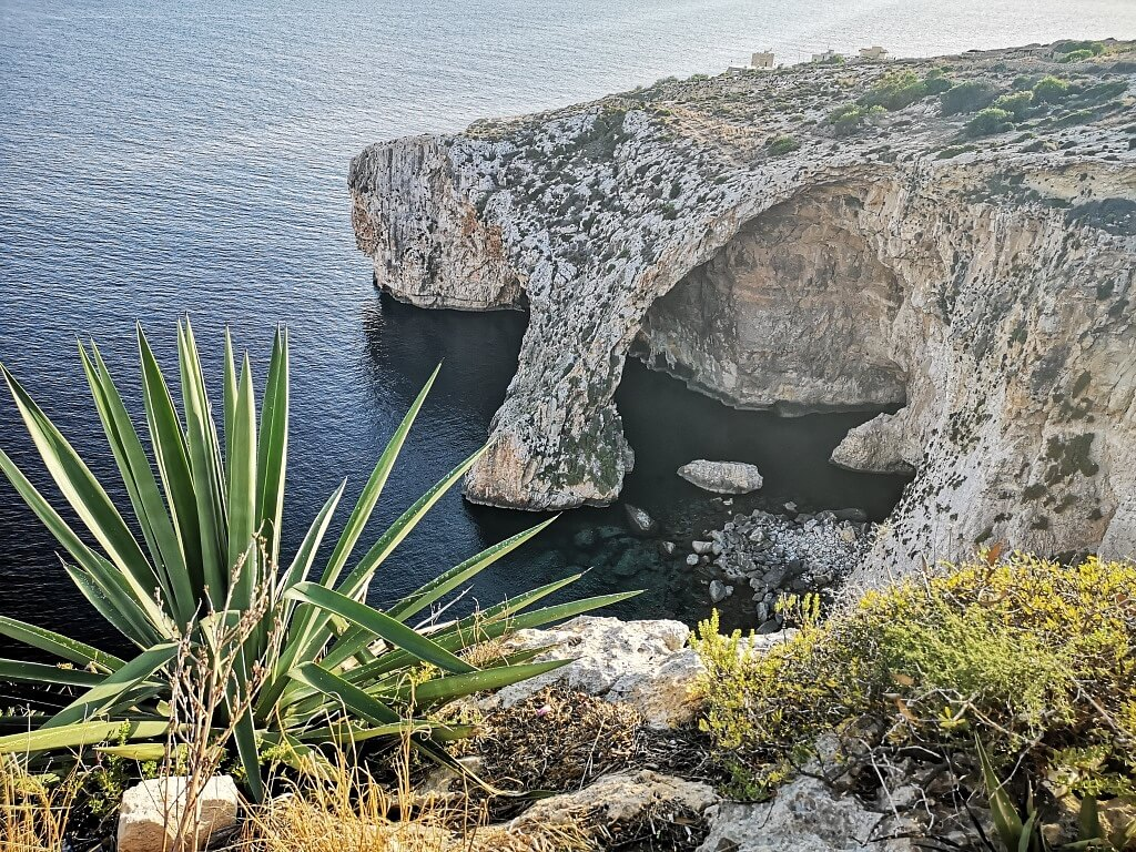 View over Blue Grotto in Malta - A Sea Cave in the Mediterranean