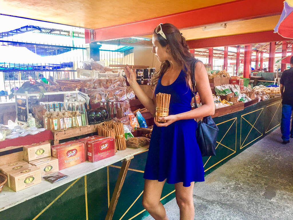 Shopping in Victoria Market in Mahe, Seychelles