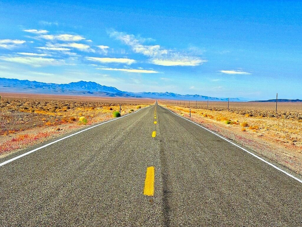 empty asphalt road in Arizona