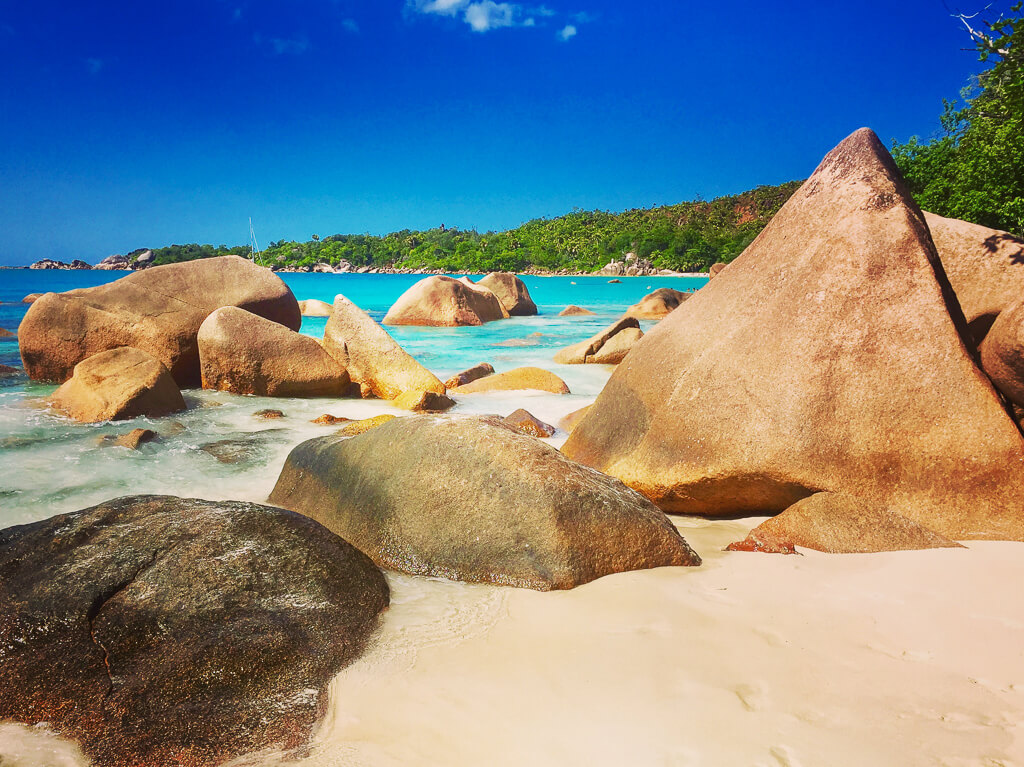 Anse Lazio Beach which stones in Praslin Island
