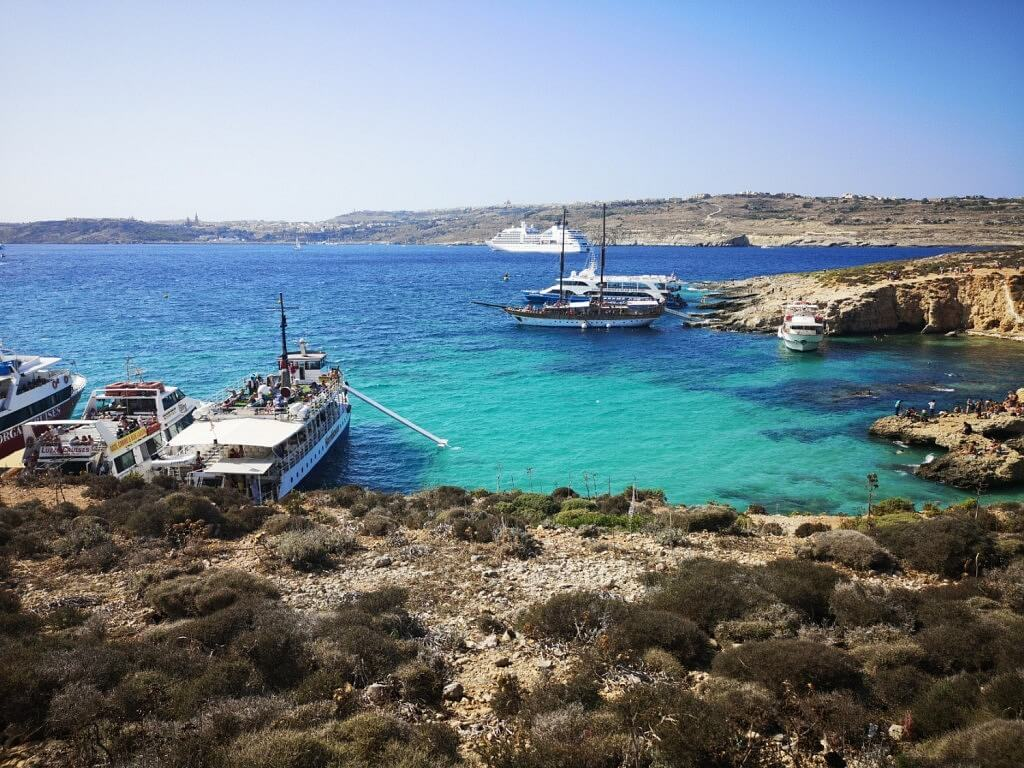 view from comino island to the blue lagoon