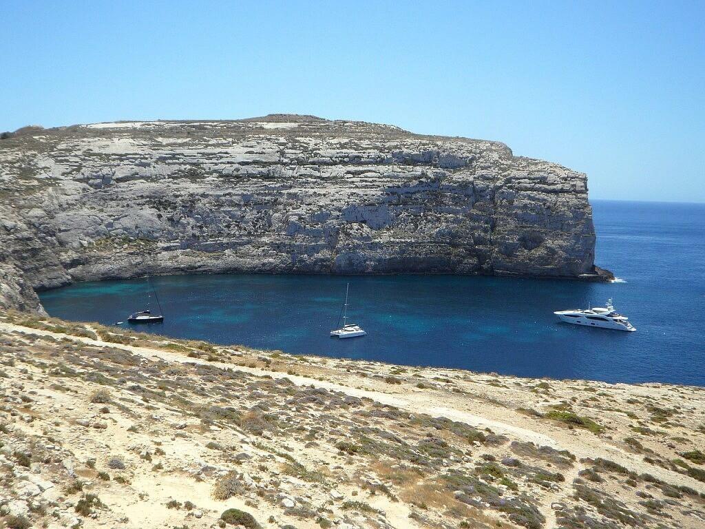 Lagoon in Maltese Gozo island