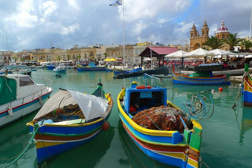 Colorful boats in the fishing village Marsaxlokk