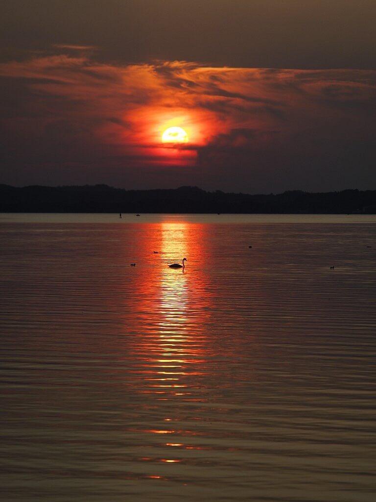 Sunset at Chiemsee lake in Bavaria