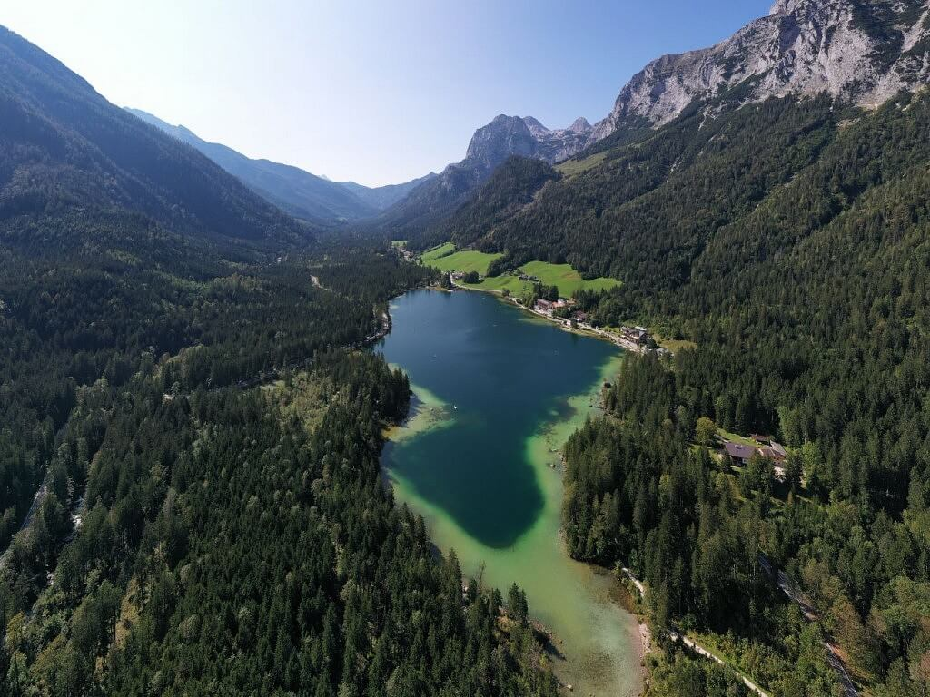Aeral image of a mountain lake near Munich
