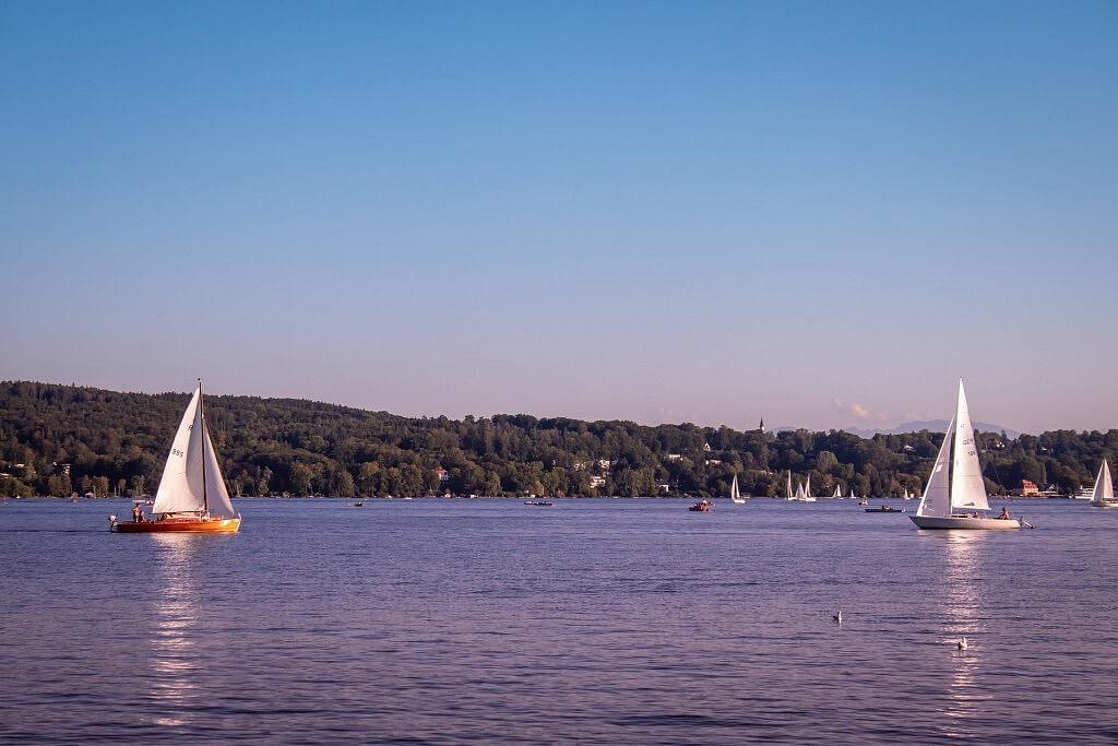 Sailing boats on lake Starnberg