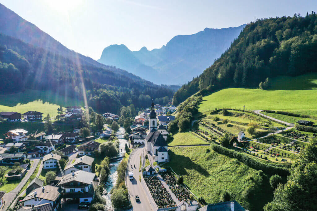 Panoramic View over Ramsau Village and Church