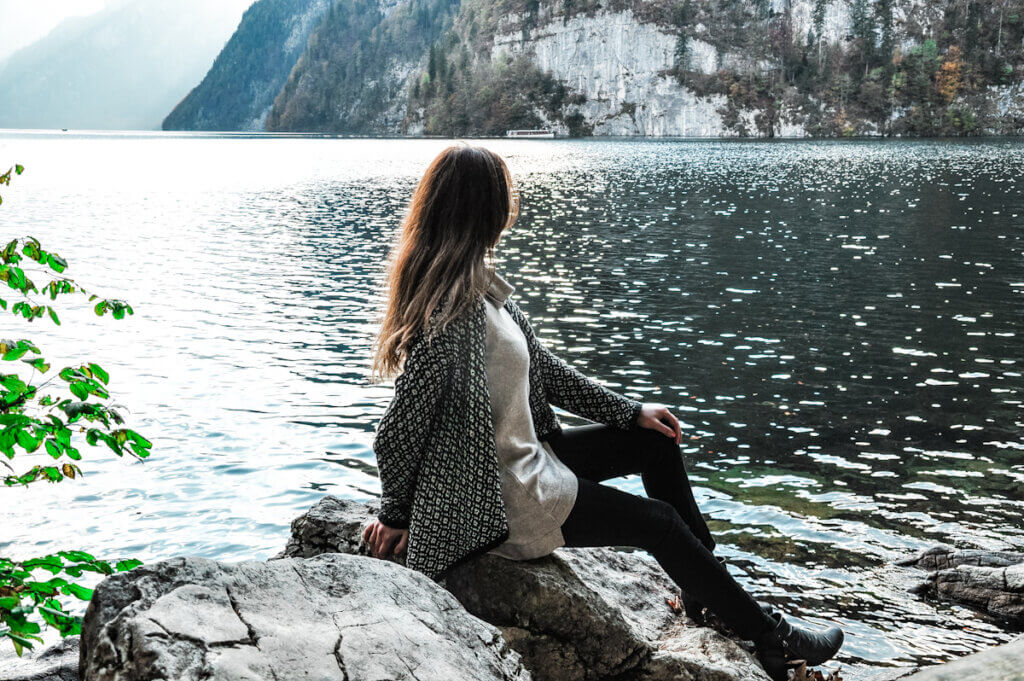 Girl enjoying the view over Lake Königssee