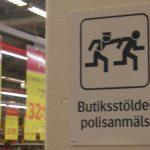 Ladendiebstahl wird angezeigt (schwedischer Supermarkt)