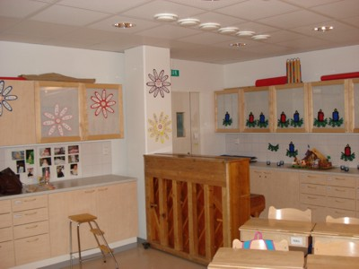 Klassenzimmer in einer Schule in Rovaniemi, Finnland