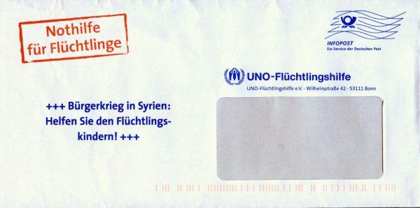 Briefkuvert der UNO-Flüchtlingshilfe