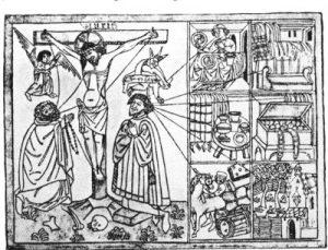 Der gute und der schlechte Beter, Holzschnitt, Deutschland 1430-1460