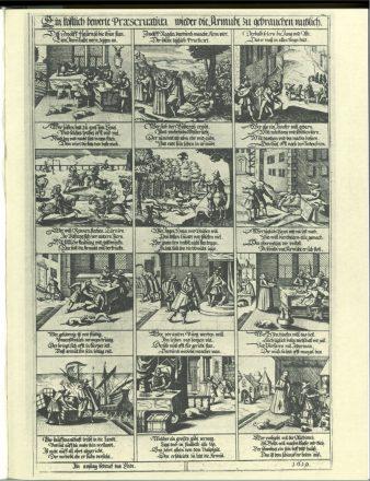 Zwölf Regel nicht arm zu werden. Bilderbogen-Kupferstich 1619