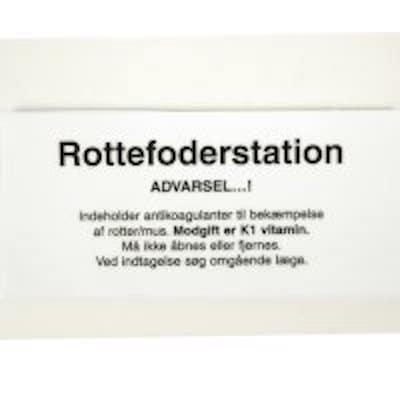 Advarsels etikette til rottefoderstation