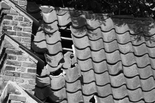 Drone inspection of damaged roof.