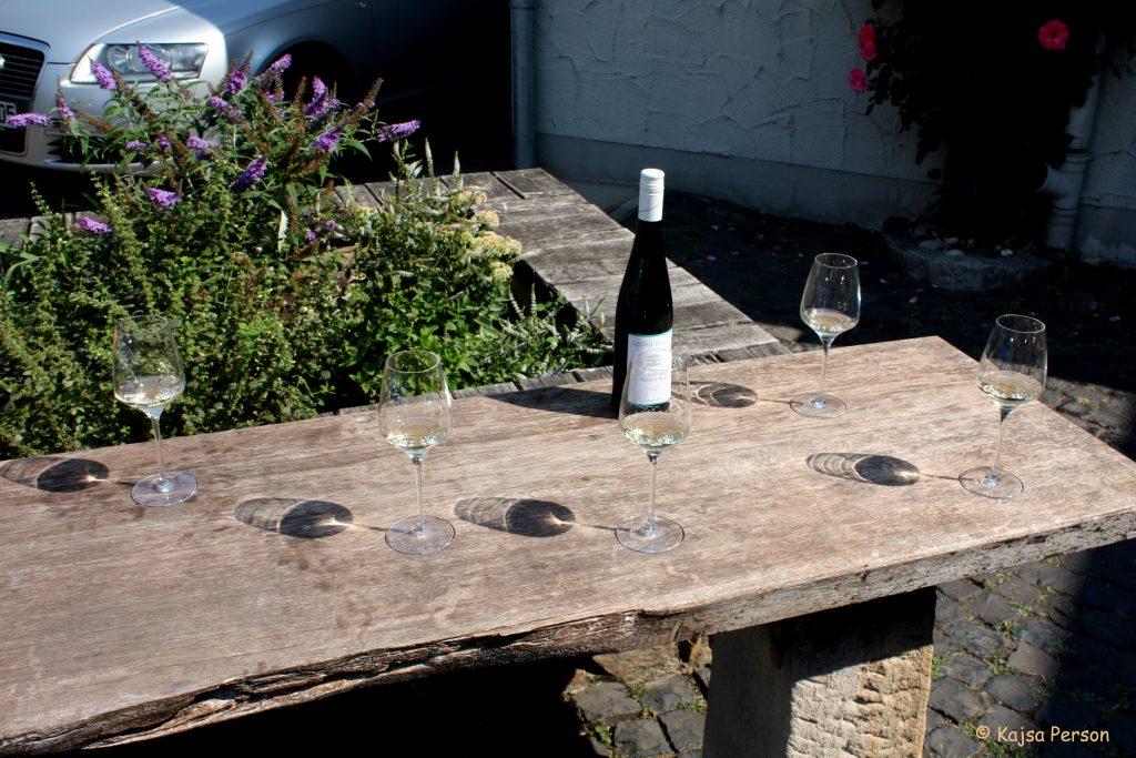 Vinprovning i solen med vitt vin