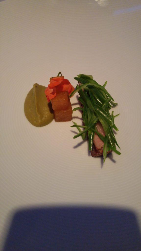 Krskopolje pork neck marinated in Timur pepper, melon fermented in different mints, grean beans