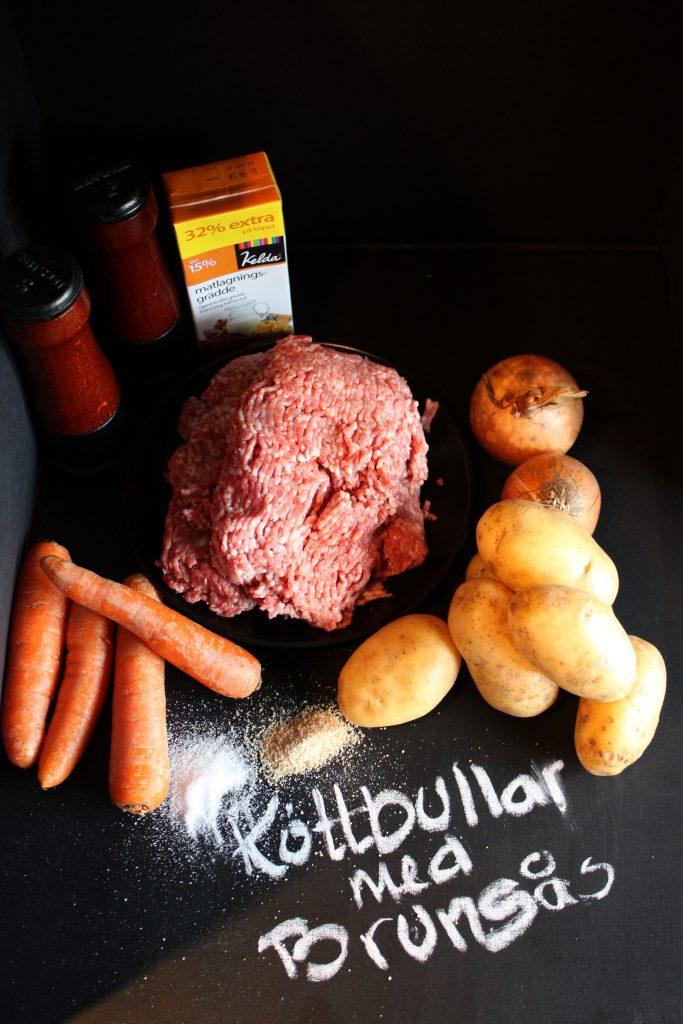 Ingredienserna till Köttbullar och brunsås
