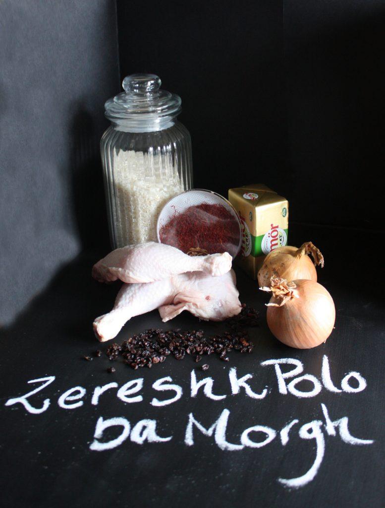 Zereshk Polo Ba Morgh ingredienser med smaker från Iran