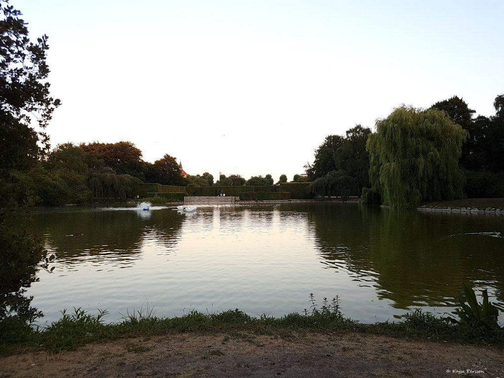 Utsikt av dammen i Pildammsparken, malmö
