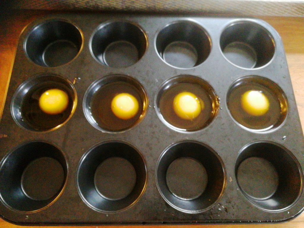 Äggulor som confiteras