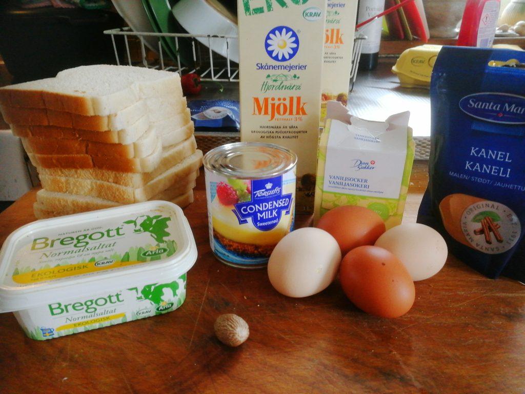 Ingredienser till favoriträtten Brödpudding