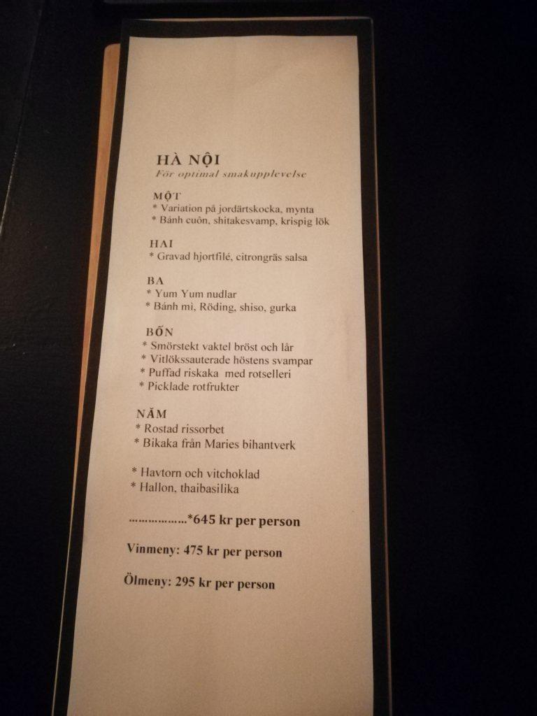 Kvällens meny på restaurang Que Malmö