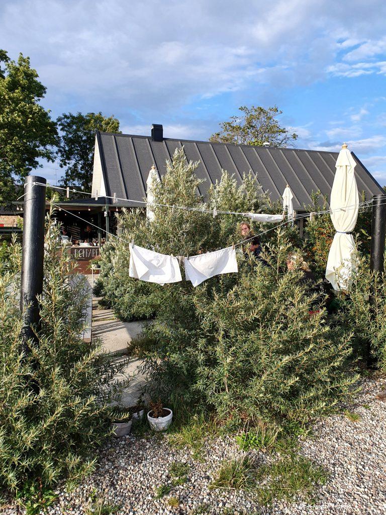 Tvättning med två vita handskar vajande i vinden utanför Hörte Brygga