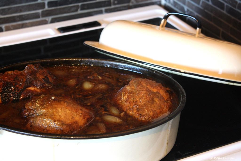 Pulled beef i gryta på gång