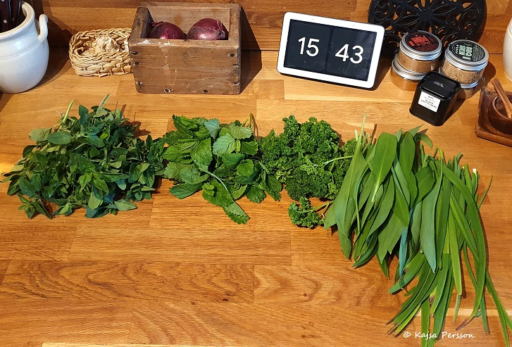 Grön skörd från köksträdgården med oregano, citronmeliss, persilja, ramslök och kinesisk Gräslök