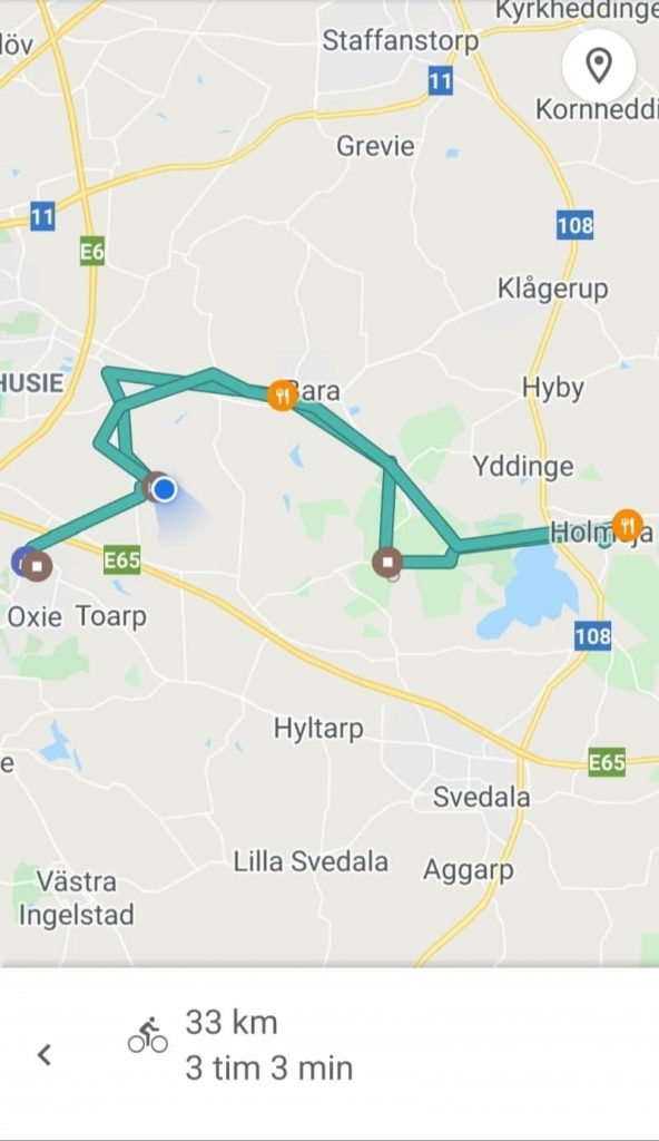 Karta över vår cykel tur