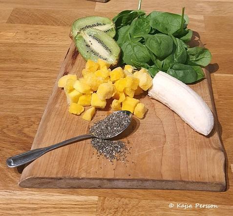 Mango, Kiwi, spenat, Banan och Chiafrön för en god grön smoothie