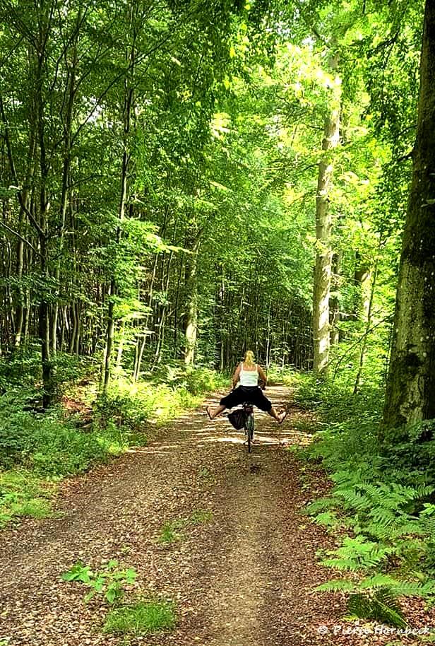 Jag på cykel i skogen