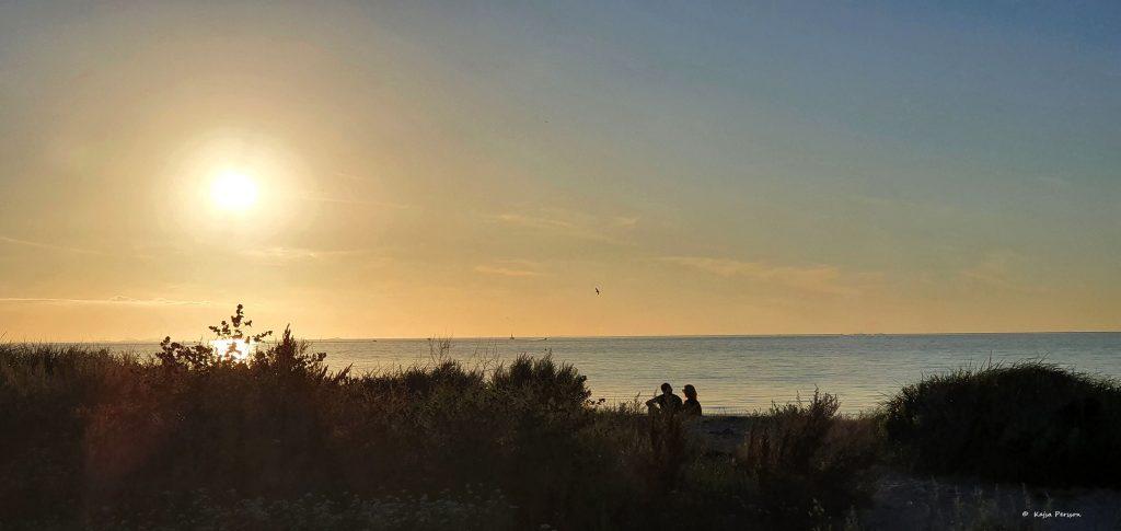 Solnedgång vid havet på Ribersborg i Malmö