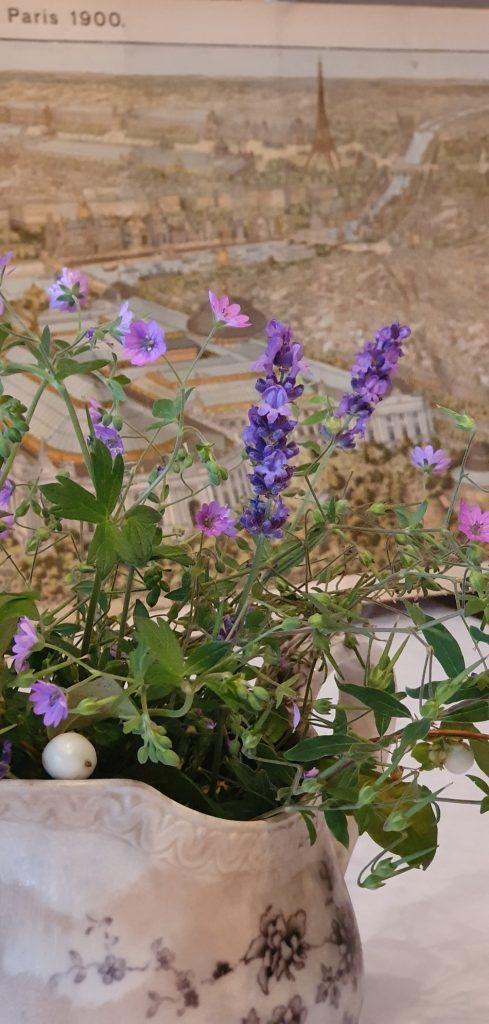 Skira lila blommor i en antik mjölkkanna