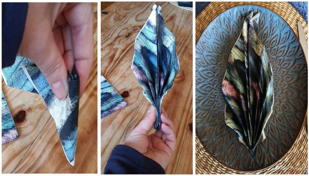 Vika servetter som en mussla de sista tre stegen